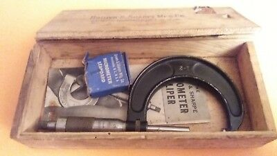 """Vintage Brown & Sharpe 61RS 1"""" to 2"""" Micrometer Caliper in original box USA MADE"""