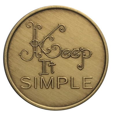 Wendells Keep It Simple Bronze AA NA Al-Anon Recovery Affirmation Coin Medallion