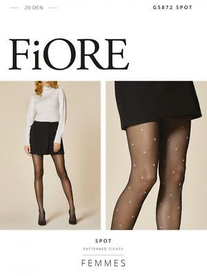 ded30698877434 Fiore Spot Dotted Fishnet Patterned Tights Pantyhose Black And Gray 3 Sizes