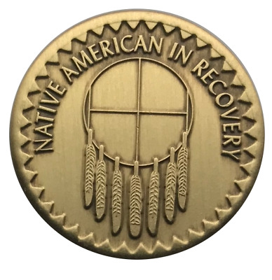"/""Steps//Change//Recovery/"" Native American Theme AA Program Enamel Coin//Medallion"