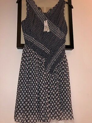 🎁New Marks & Spencer Autograph Girls Dress Age 13 Years Grey polka dot