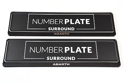2 x PRESTIGE BLACK STAINLESS STEEL NUMBER PLATE SURROUND HOLDER - FOR ABARTH