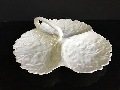 Coalport White Leaf Bone China Divided Candy Relish Serving Dish