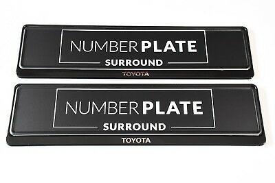 2 x PRESTIGE BLACK STAINLESS STEEL NUMBER PLATE SURROUND HOLDER - FOR TOYOTA