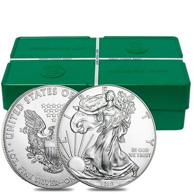 Monster Box of 500 - 2019 1 oz Silver American Eagle $1 Coin BU (25 Roll, Tube