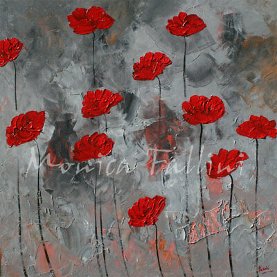 Oil painting red Poppies palette knife impasto 22 x 22 inches by Monica Fallini