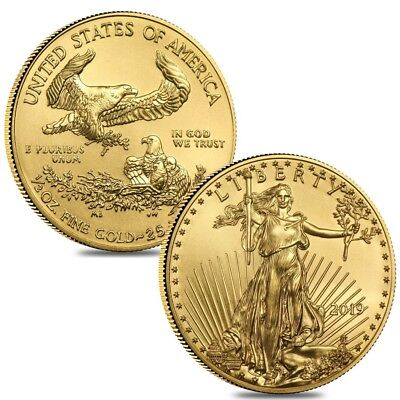 Lot of 2 - 2019 1/2 oz Gold American Eagle $25 Coin BU