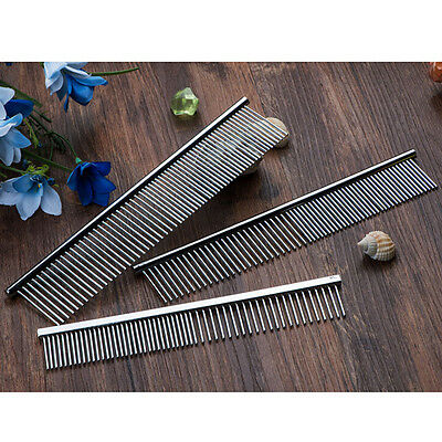 Pet Puppy Dog Cat Stainless Steel Comb Long Hair Shedding Grooming Flea Comb PT