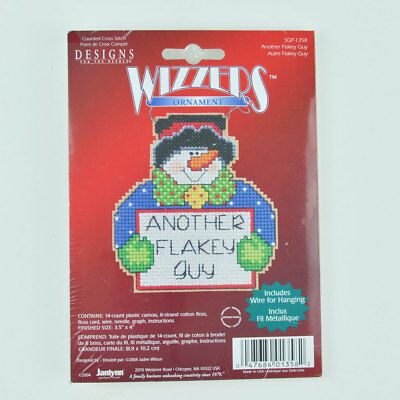 Janlynn Counted Cross Stitch Ornament Kit Wizzler Snowman NEW