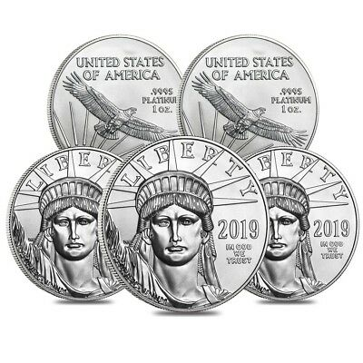 Lot of 5 - 2019 1 oz Platinum American Eagle $100 Coin BU