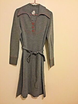Vintage 60s 70s Retro Mod Grey Red Buttons Belted Dress SZ 8