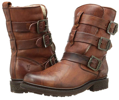 b46f6a1017d NEW Frye VALERIE Shearling Strappy Short Boots Women 6 Leather Cognac  488  75008