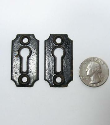 Pair Antique Skeleton Key Hole Escutcheon Cast Iron Plate Raised Black VTG Old