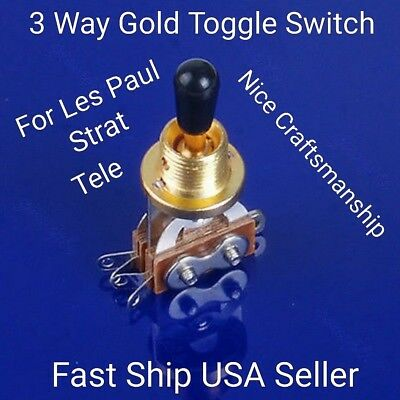 3 Way Noiseless Toggle Pickup Switch. Fits Gibson Les Paul & Epiphone USA Seller