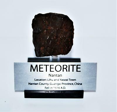 NANTAN IRON METEORITE 91.0 grams w/ Acrylic Display Stand, Label, COA #14253 7o