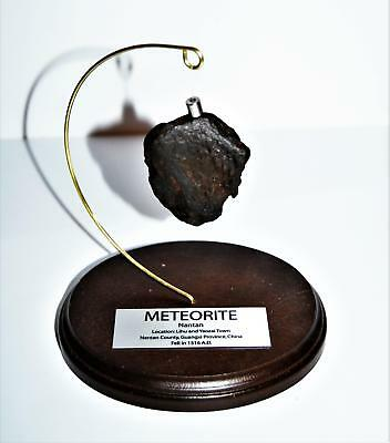 NANTAN IRON METEORITE 102.2 grams w/ Wood Display Stand, Label, & COA #14251 11o