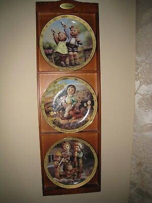 M.j. Hummel Collection Of 3 Millennium Plates With Display Rack - Nice!!