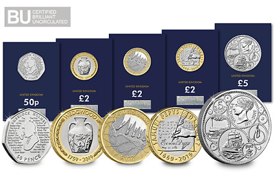 2019 CERTIFIED BU Annual Coin Set 5 Five Pound, 2 Two Pound & 50p (5 x Coin Set)