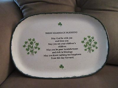 IRISH Marriage Blessing Pottery Platter,Used.10 1/2 in.x 7 in.