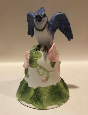 Avon Collectible Bell with Blue Jay Blue Bird on Top 2001