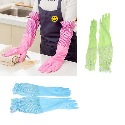Household Rubber Gloves Latex Kitchen Dish Washing Cleaning Lace Long Cuff
