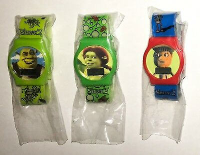 2003 GM Cereal Promo Watches from Shrek 2 - Shrek, Fiona & Pinocchio LOT OF 3