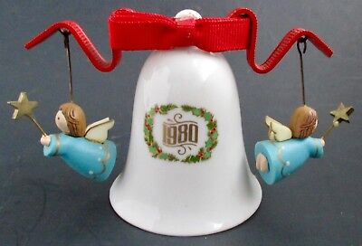 1980 Hallmark Ornament The Bellringers 2nd in Series Two Angels Porcelain Bell