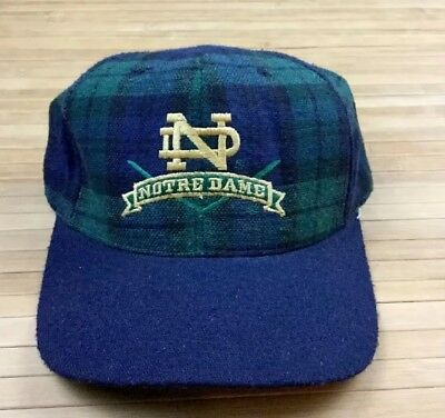 Vintage Notre Dame Fighting Irish University Square Plaid Wool Strapback Hat Cap
