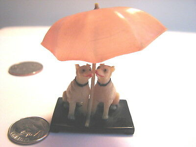 Vintage-Two Celluloid Dogs Under An Umbrella-Rare