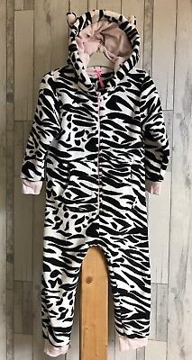 Next Warm Fleece Girls Hooded All-in-one Pyjamas Jumpsuit Age 5-6 Years Zebra