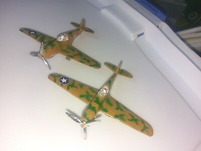 Pair of Vintage P-40 Flying Tiger A136 Fighter Diecast Toy Airplanes