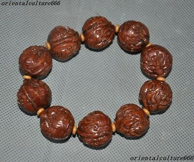 Rare Old Walnut kernel Walnut nuclear Carved Beast Head amulet Bracelet Antiques