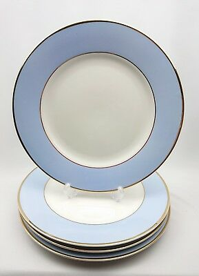 "Royal Doulton 2004 10"" Dinner Plate Bruce Oldfield White Powder Blue & Gold x 4"