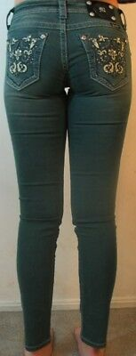 NWOT MISS ME WOMENS TP5395S1 TEAL SKINNY LOW RISE DESIGNER JEANS SIZE 24-32