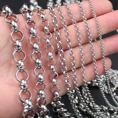 Factory Price Stainless Steel Silver round Rolo Chain DIY Jewelry Making In Bulk
