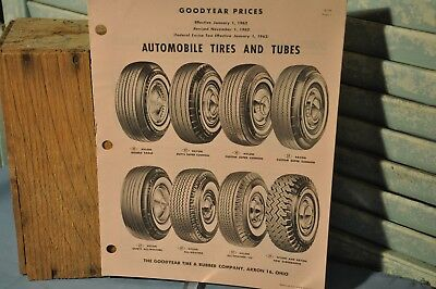 Vintage Collectible Goodyear 1962 Automobile Tires and Tubes Price Guide