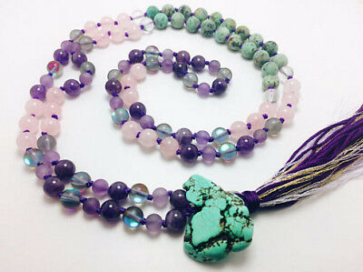 Turquoise Crystal Knot necklace new Meditation Buddhism Veins natural mala cuff