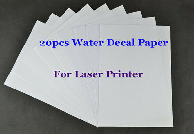 20Pcs A4 Water Slide Decal Paper Laser Clear Waterslide Transfer Paper