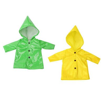 Lovoski 2Pcs Candy Color Raincoat Clothes for 18inch American Girl Doll