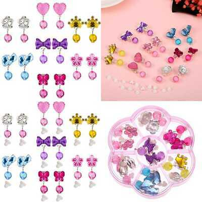 7 Pairs Crystal Clip On Earrings Girls Princess Jewelry Earring & Pads In PINK B