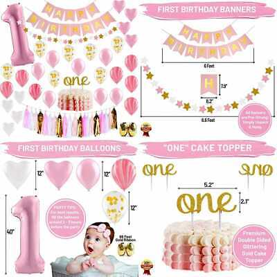 First Birthday Decorations For Girl 1St Baby Number 1 Balloon Happy B PINK Gold