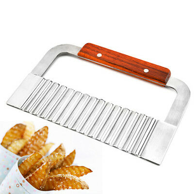 1PC Hardwood Handle Crinkle Wax Vegetable Soap Cutter Wavy Potato Slicer LJ
