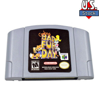 For Nintendo N64 Conker's Bad Fur Day Video Game Cartridge Console Card US Ver