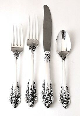 Wallace Grande Baroque 925 sterling Silver 4 place setting set fork spoon knife