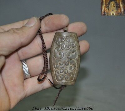 Antiques Dynasty Natural Hetian Jade Carved Yupei Amulet pendant Ritual funerary