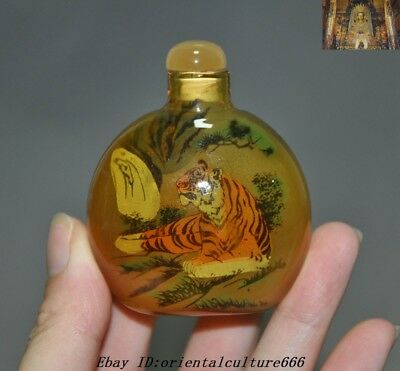 Collect Old Chinese Glass Inside painting Tiger Pine Figure snuff bottle Statue