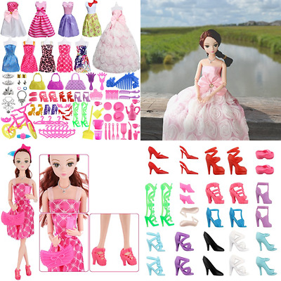 85 Pcs Doll Clothes Set For Barbie Dolls Include 10 Pack Party Grown Outfi A