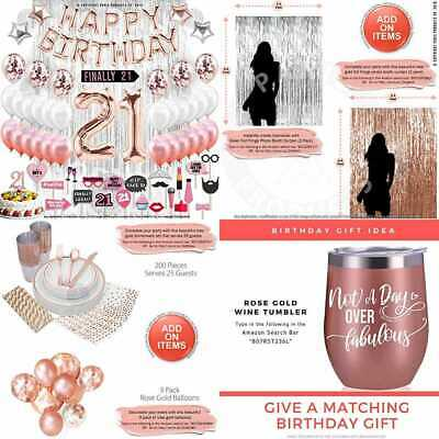 21St Birthday Decorations 21 Party Supplies Cake Topper ROSE GOLD Banner Confett