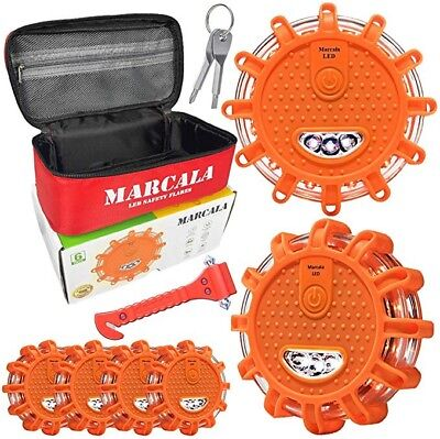 MARCALA 6 Pack LED Safety Flares w/ Batteries Installed - 3 Bonuses Included!