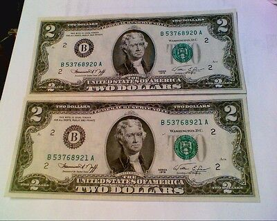 2- two Dollar Bills Consecutive Numbers Crisp Uncirculated